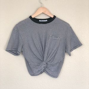 T Alexander Wang striped cropped tee